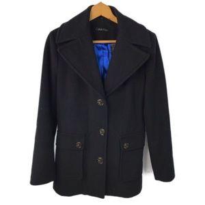Calvin Klein Black Wool Cashmere Blend Pea Coat